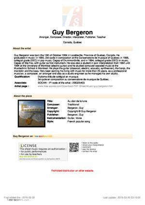 Sheet Music Guy Bergeron - Au clair de la lune