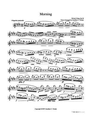 Sheet Music Edvard Grieg - Morning