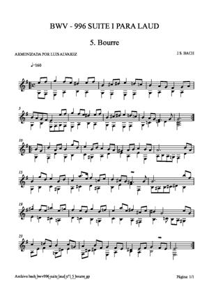 Sheet Music bach bwv0996 suite laud nº1 5 bourre