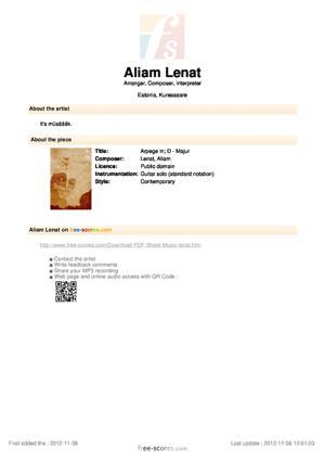 Sheet Music Arpege In; D - Majur