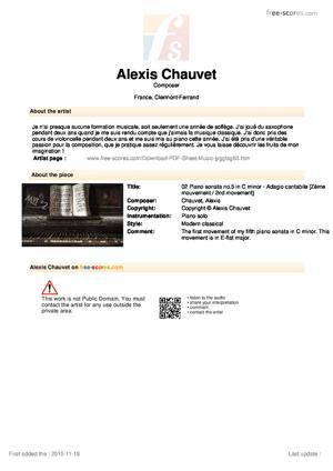 Sheet Music 02 Piano sonata no.5 in C minor - Adagio cantabile