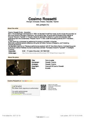 Sheet Music Paris musette