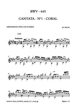 Sheet Music bach bwv0645 cantata nº1 coral
