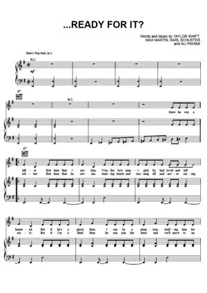 Sheet Music Taylor Swift - Ready For It