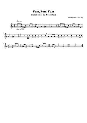 Sheet Music Traditional Catalan - Fum Fum Fum