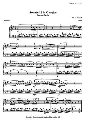 Sheet Music Sonata Facile - Second movement