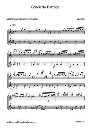 Sheet Music vivaldi concerto barroco