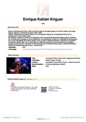 Sheet Music Tonada de Chillan Viejo
