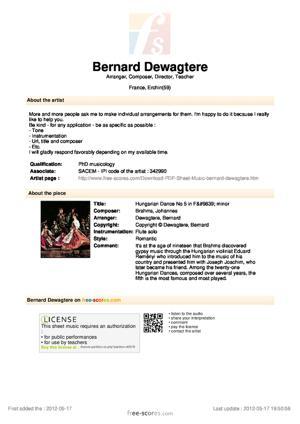 Sheet Music Johannes Brahms - Hungarian Dance No 5 in F♯ minor