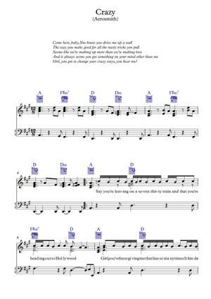 Sheet Music Aerosmith - Crazy