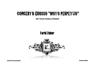 """Sheet Music CONCERTO GROSSO """"MOTO PERPETUO"""""""