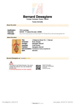 Sheet Music L'Arlésienne (Suite n°2) – 7. Menuet