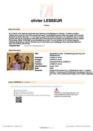 Sheet Music olivier LESSEUR - Apprendre le violon : Swallowtail jig