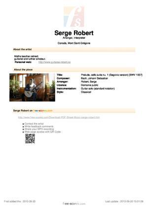 Sheet Music Prelude, cello suite nu. 1 (Segovia version)