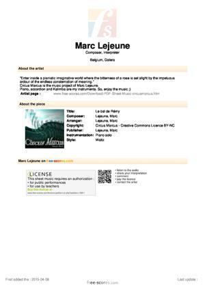 Sheet Music Le bal de Rémy