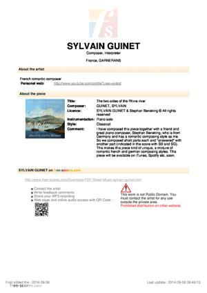 Sheet Music Sylvain Guinet - The two sides of the Rhine river