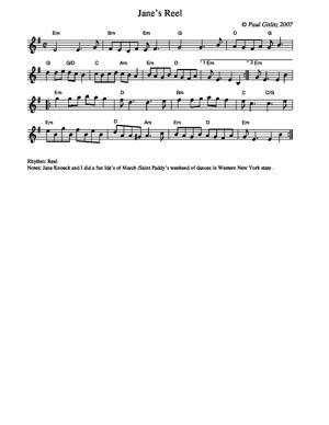 Sheet Music Jane's Reel