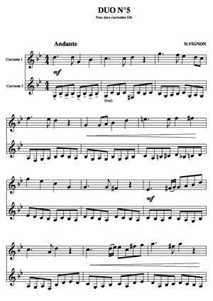 Sheet Music Duo for clarinets N°5