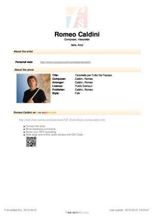 Sheet Music Tarantella per Tullio De Piscopo