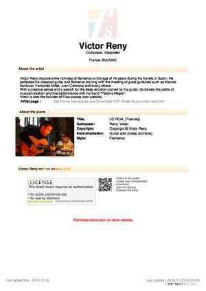 Sheet Music Victor Reny - Lo Real