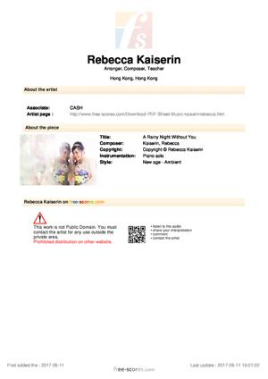 Sheet Music Rebecca Kaiserin - A Rainy Night Without You