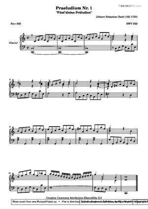 Sheet Music Praeludium Nr. 1 - BWV 939