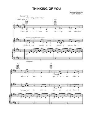 Sheet Music Katy Perry - Thinking Of You