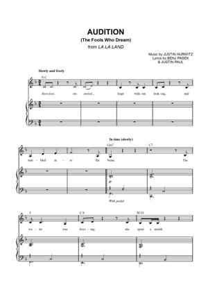 Sheet Music La La Land - Audition