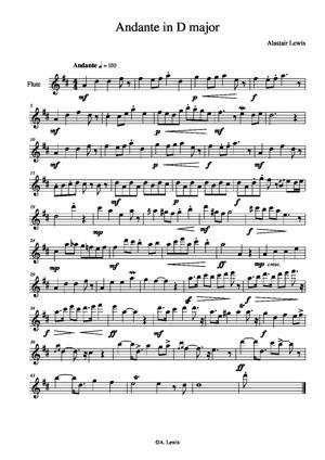 Sheet Music Andante in D Major