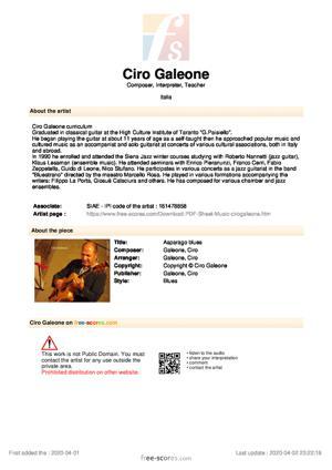 Sheet Music Asparago blues