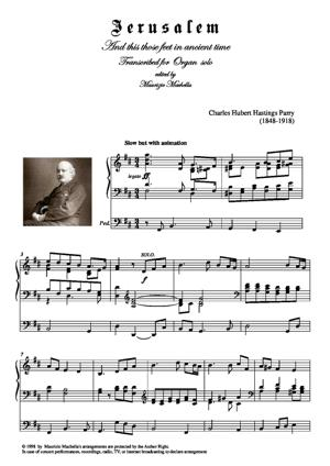 Sheet Music Jerusalem And this those feet in ancient time Organ transcription