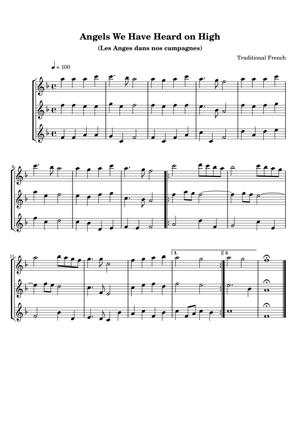 Sheet Music Traditional French - Angels We Have Heard on High