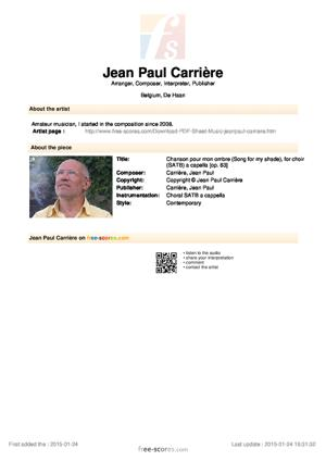 Sheet Music Chanson pour mon ombre (Song for my shade), for choir (SATB) a capella