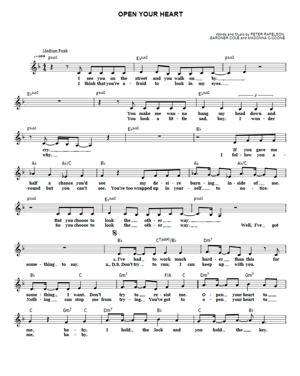 Sheet Music Madonna - Open Your Heart