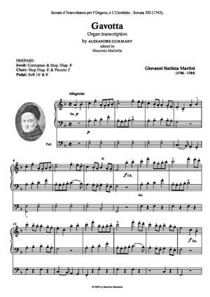 Sheet Music Celebre Gavotta. Organ transcription by A. Guilmant (1837-1911)