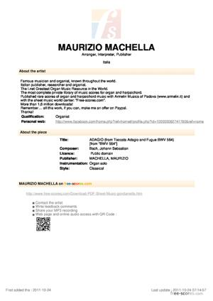 Sheet Music ADAGIO (from Toccata Adagio and Fugue BWV 564)