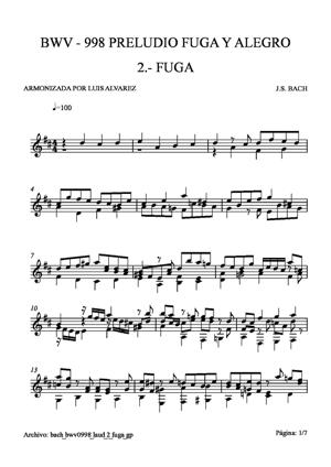 Sheet Music bach bwv0998 laud 2 fuga