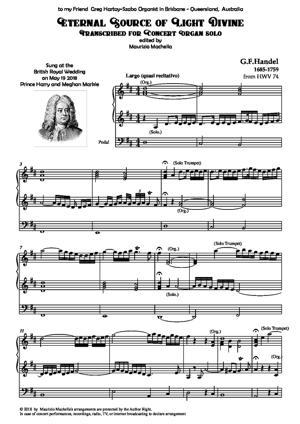 Sheet Music Eternal Source of Light Divine. Organ transcription
