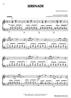 Sheet Music Richard Clayderman - Serenade