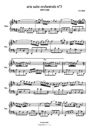 Sheet Music Aria suite orchestrale n°3