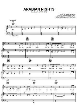 Sheet Music from Aladdin (Will Smith) - Arabian Nights