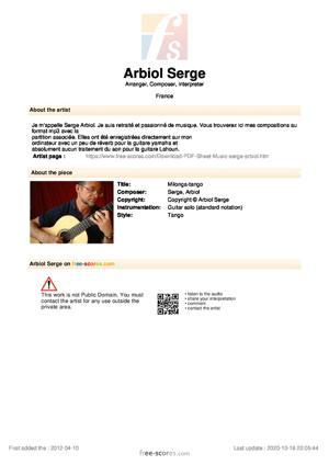Sheet Music Milonga-tango