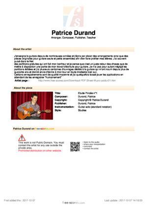 Sheet Music Etude Pincée n°1