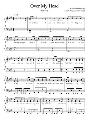 Sheet Music The Fray - Over My Head