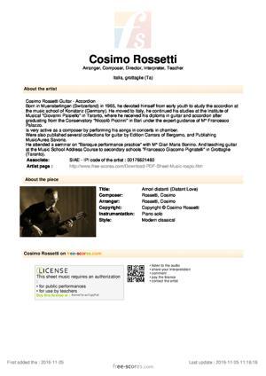 Sheet Music Amori distanti (Distant Love)