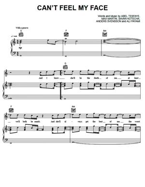 Sheet Music The Weeknd - Can't Feel My Face