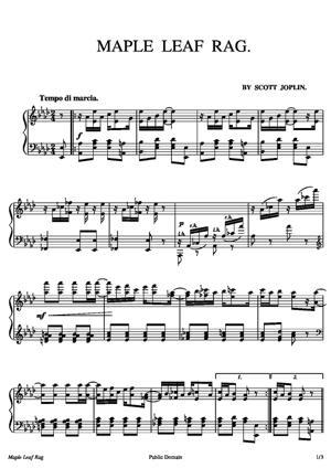 Sheet Music Maple Leaf Rag
