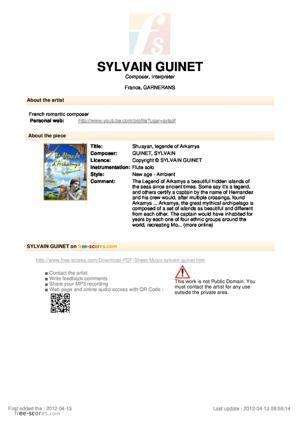 Sheet Music Shuayan, legende of Arkamys