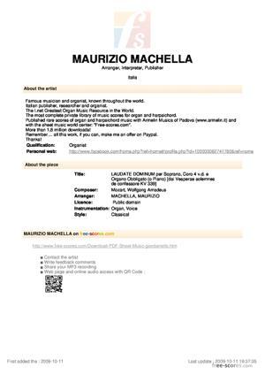 Sheet Music LAUDATE DOMINUM per Soprano, Coro 4 v.d. e Organo Obbligato (o Piano)