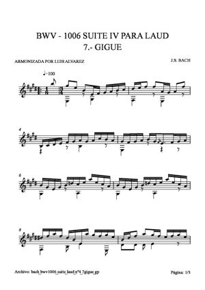 Sheet Music bach bwv1006 suite laud nº4 7 gigue